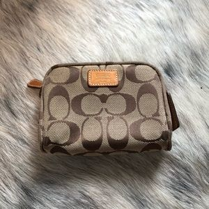 Coach Brown tan change purse wallet bag